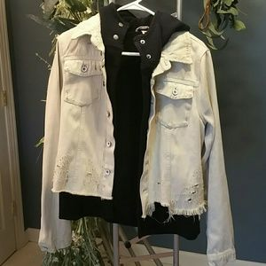 Destroyed White Denim Jacket w/ Hood & Lining